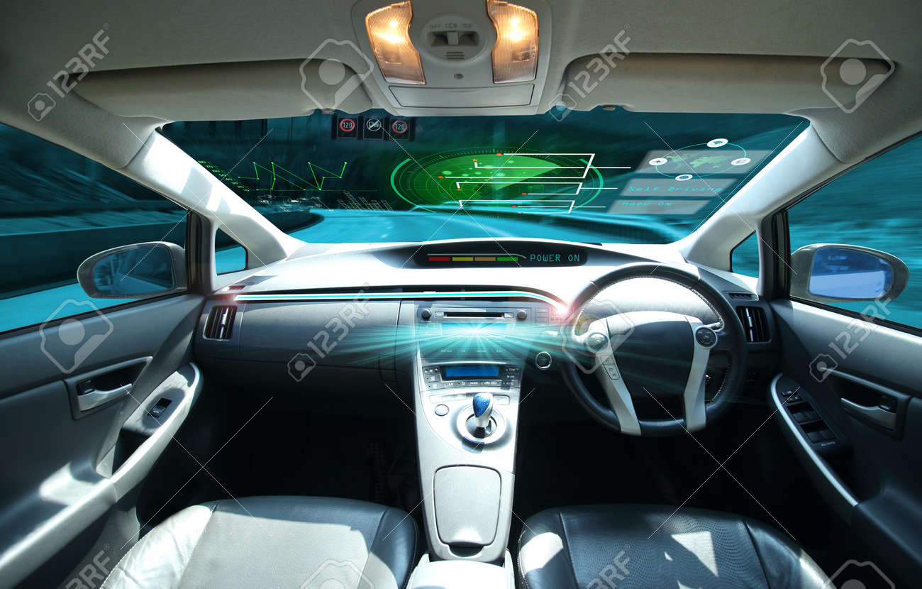 electric car or intelligent car. connected car. Internet of Things. Heads up display(HUD).futuristic vehicle and graphical user interface(GUI).self-driving mode , vehicle running self driving mode and a woman driver - 92990608