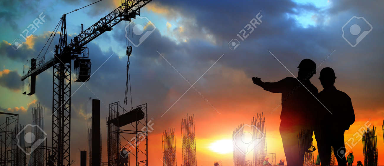 two engineer on working site , engineer and tower cranes at construction site and city background - 93810290