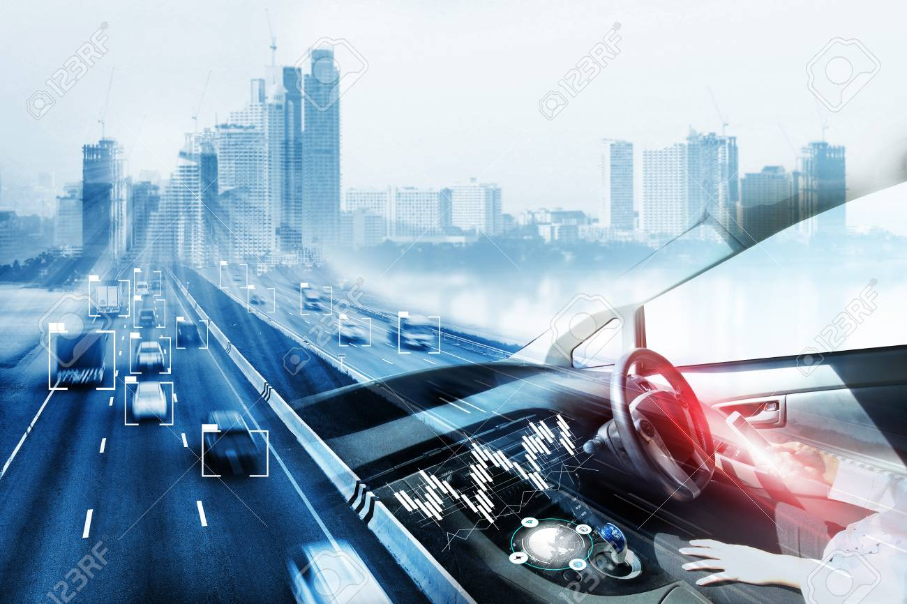 electric car or intelligent car.Heads up display(HUD).futuristic vehicle and graphical user interface(GUI).self-driving mode , autonomous car, vehicle running self driving mode and a woman driver - 94249211