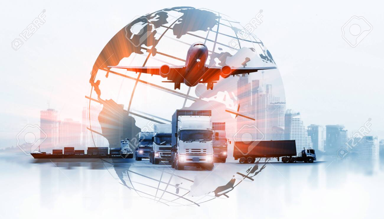The world logistics , there are world map with logistic network distribution on background and Logistics Industrial Container Cargo freight ship for Concept of fast or instant shipping - 122865762