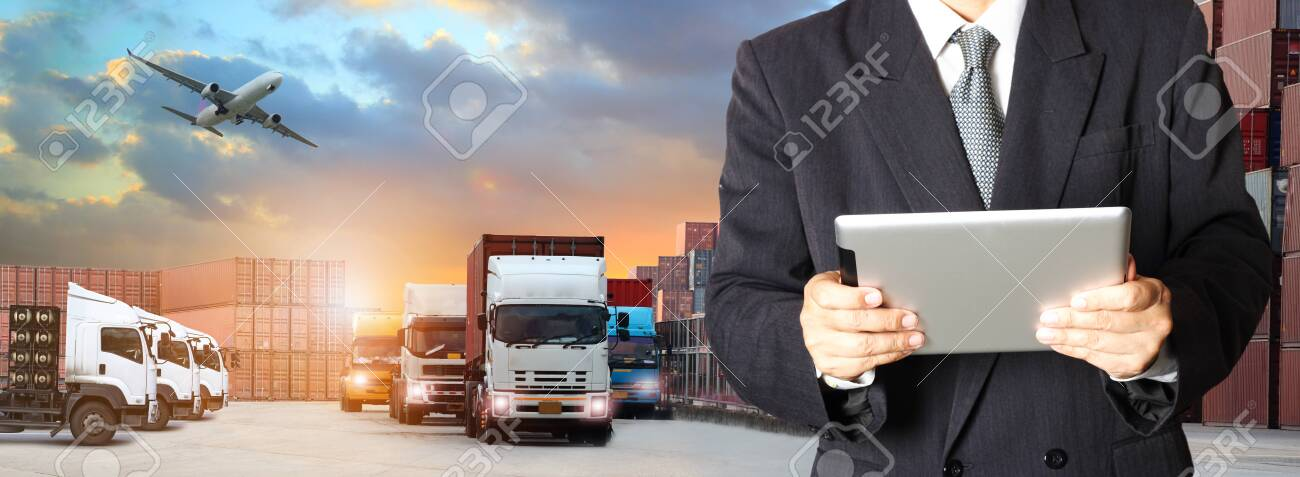 Double exposure of man with world map for logistic network distribution on background and Logistics Industrial Container Cargo freight ship for shipping and Transportation, import-export - 128420865
