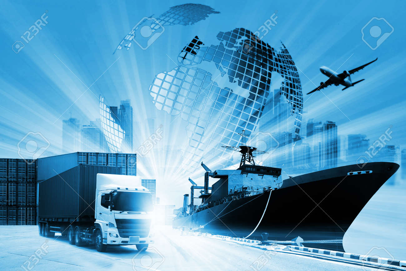 The world logistics background or transportation Industry or shipping business, Container Cargo shipment , truck delivery, airplane , import export Concept - 140961682