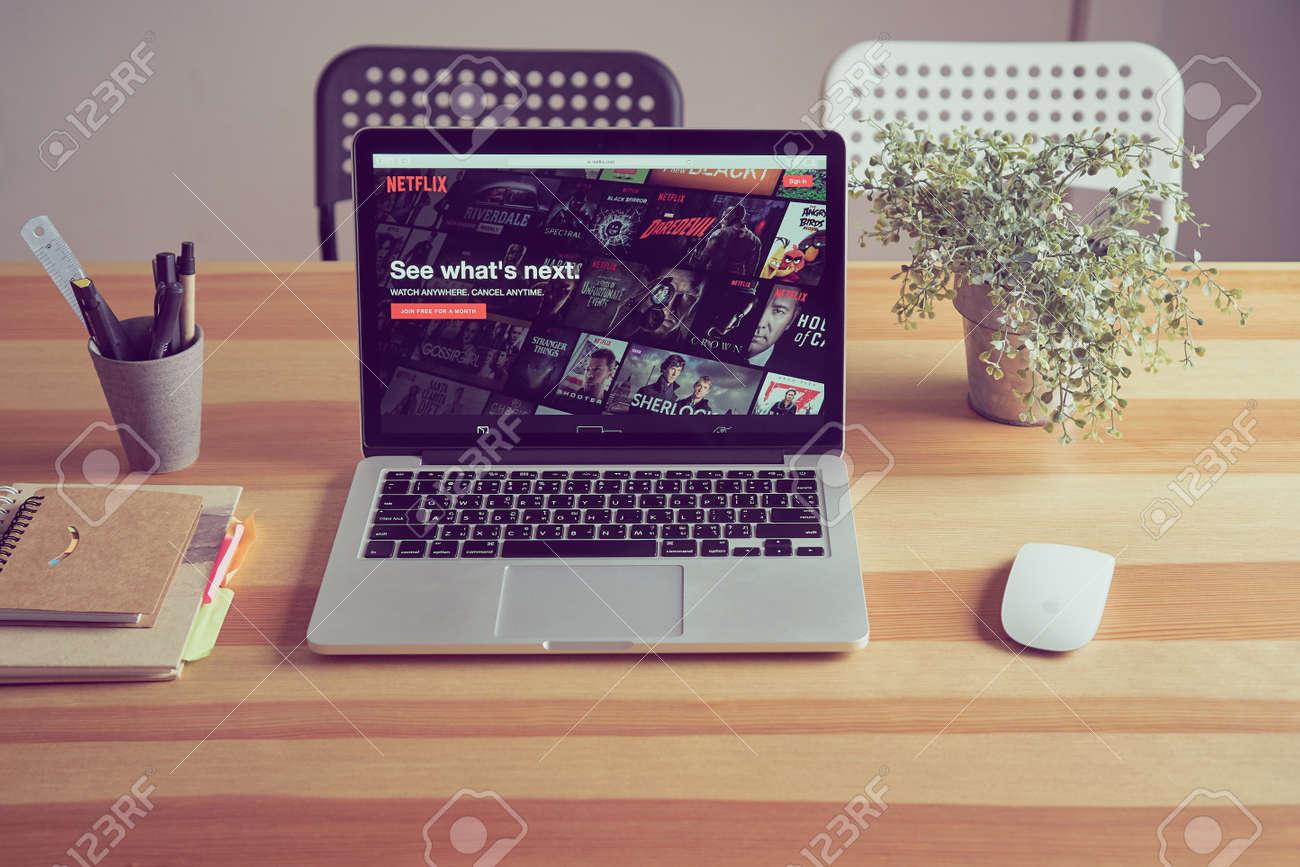 Bangkok, Thailand - August 24, 2017 : Netflix app on Laptop screen