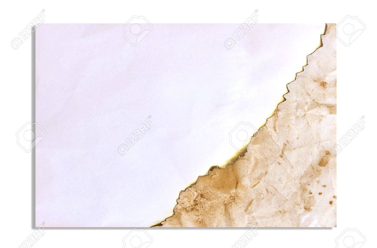 Burned paper and old paper isolated on white backgroound Stock Photo - 15843949