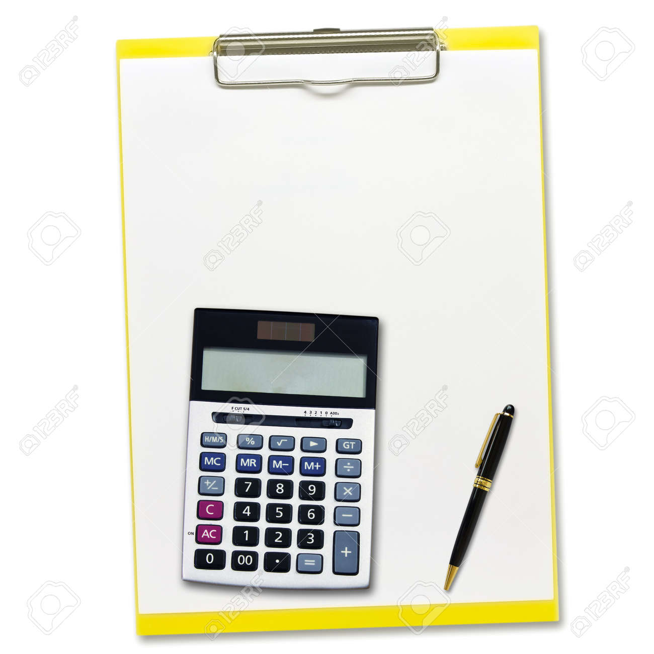 calculator and Pen on notepad  isolated on white background Stock Photo - 21801625