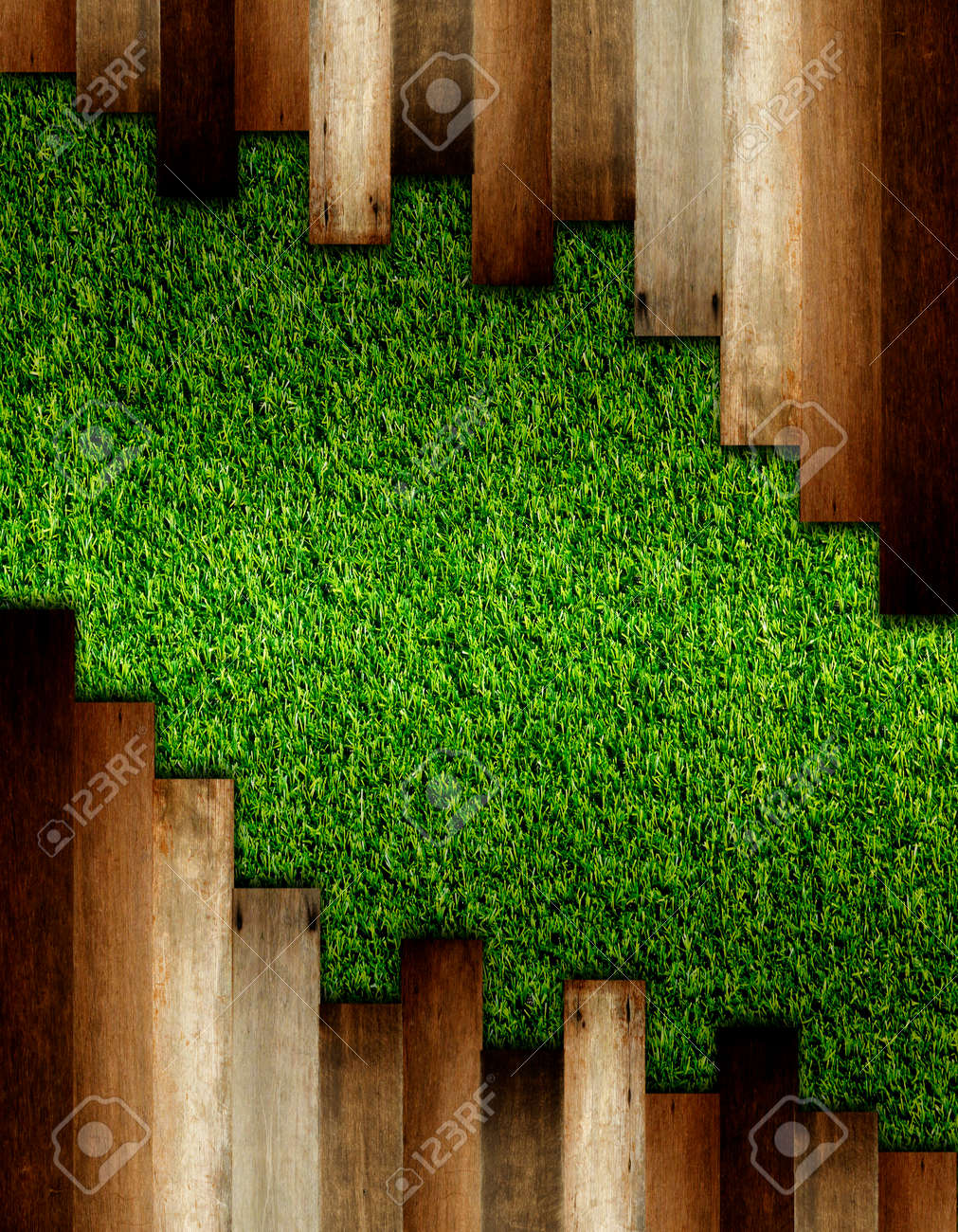 wooden on green artificial turf pattern ,texture for background. - 57695857