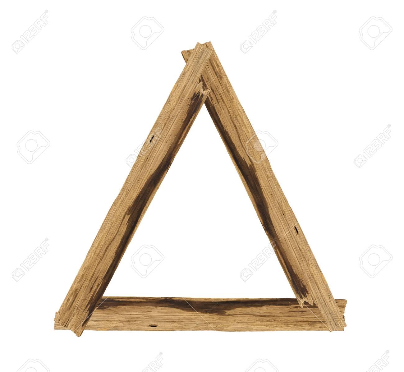 Dreieck Bilderrahmen Aus Brett Holz Isoliert Auf Weißem Hintergrund ...