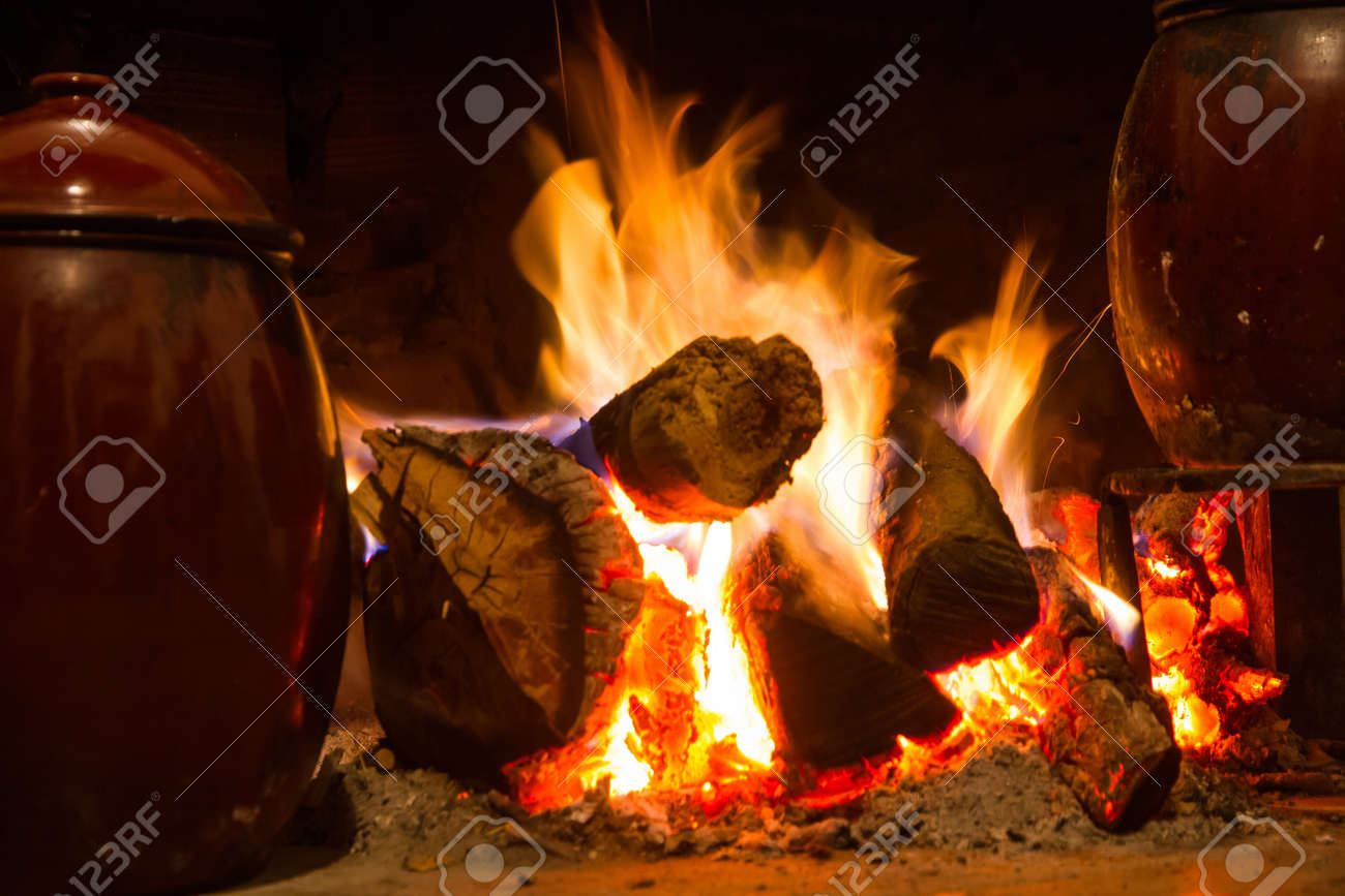 Kitchen Fireplace For Cooking Chimney Kitchen Hearth Of Burning Rural House Ancient Scene