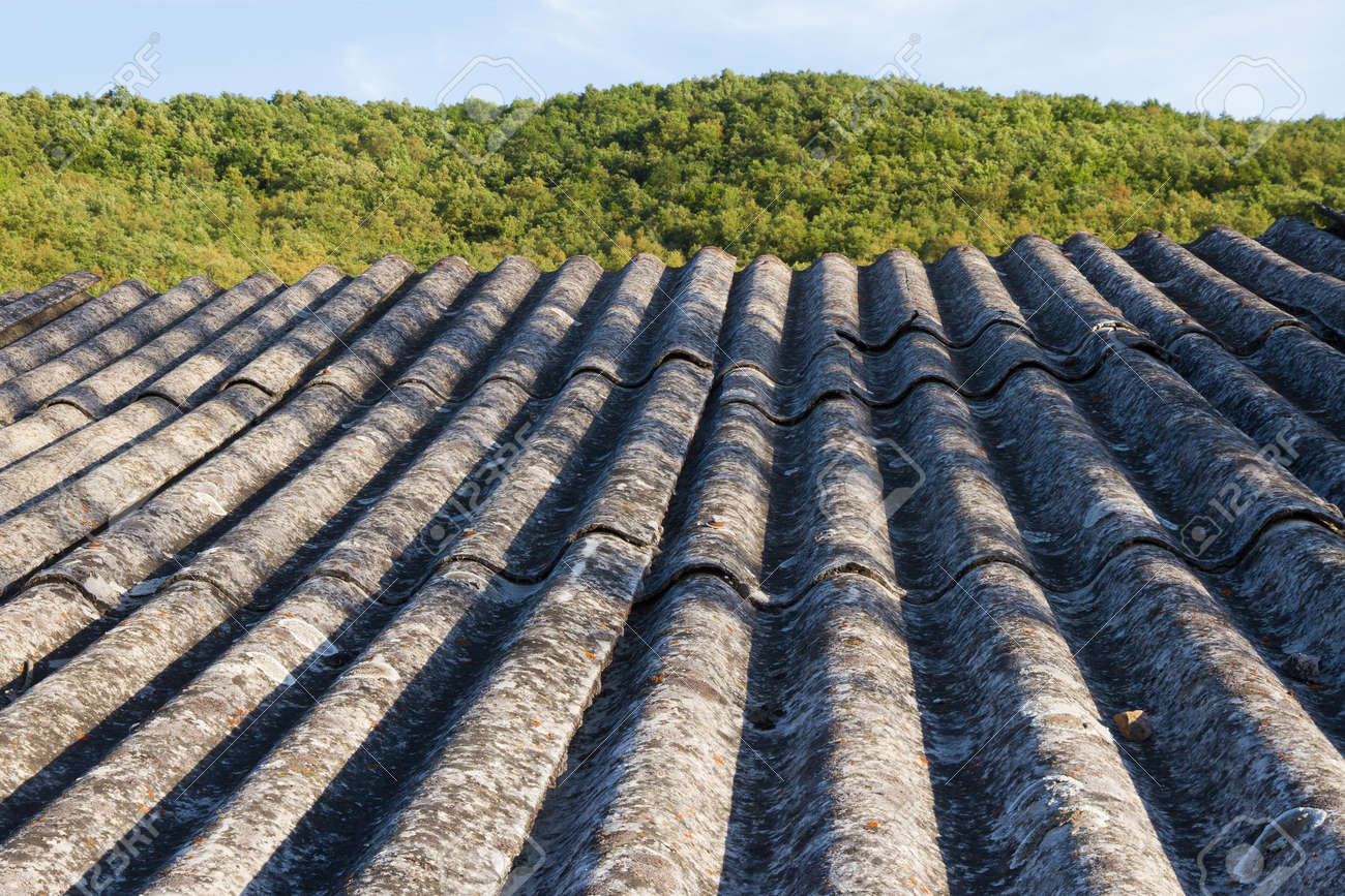 Roof Insulation Built With Asbestos Fibrous Material Prohibited By Their Carcinogenic Effects Stock Photo