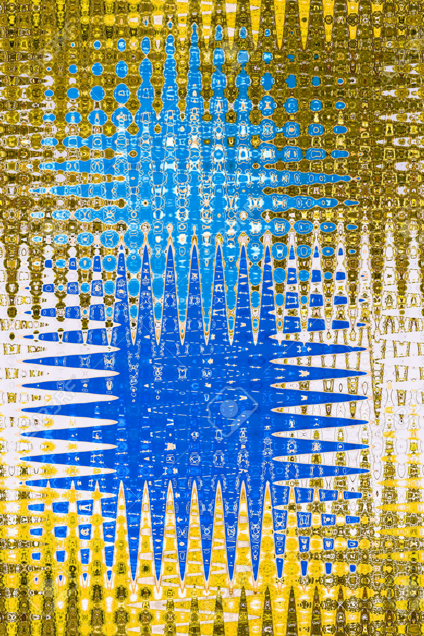 Textile pattern design or wallpaper. Abstract star jagged in gold and blue - 41796095