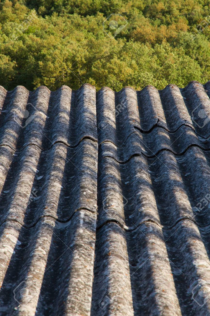 Roof Insulation Built With Asbestos Fibrous Materials Prohibited By Their Carcinogenic Effects Stock Photo