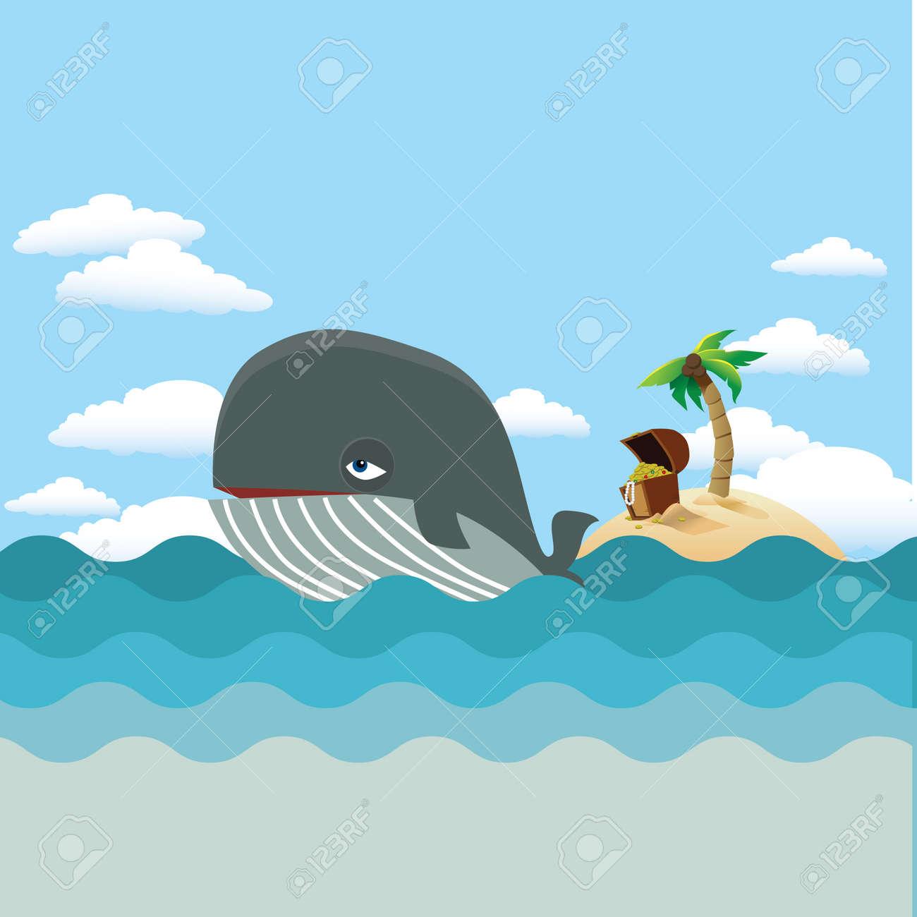Whale with treasure island Stock Vector - 20010468