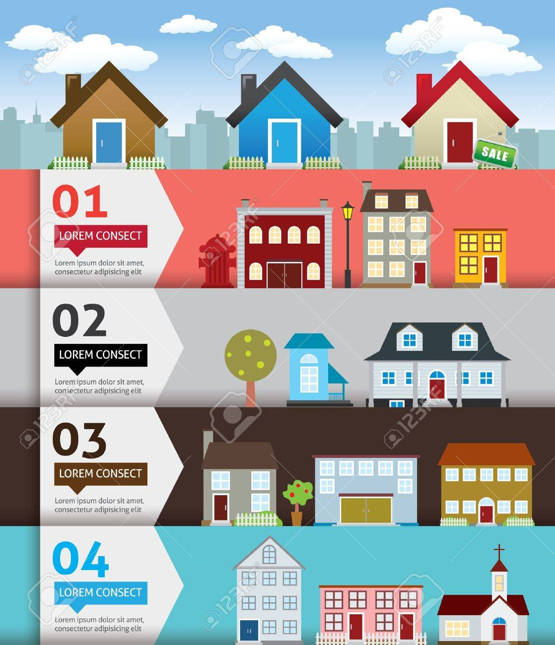 City banenr retro illustration with colorful icons Stock Vector - 20325273