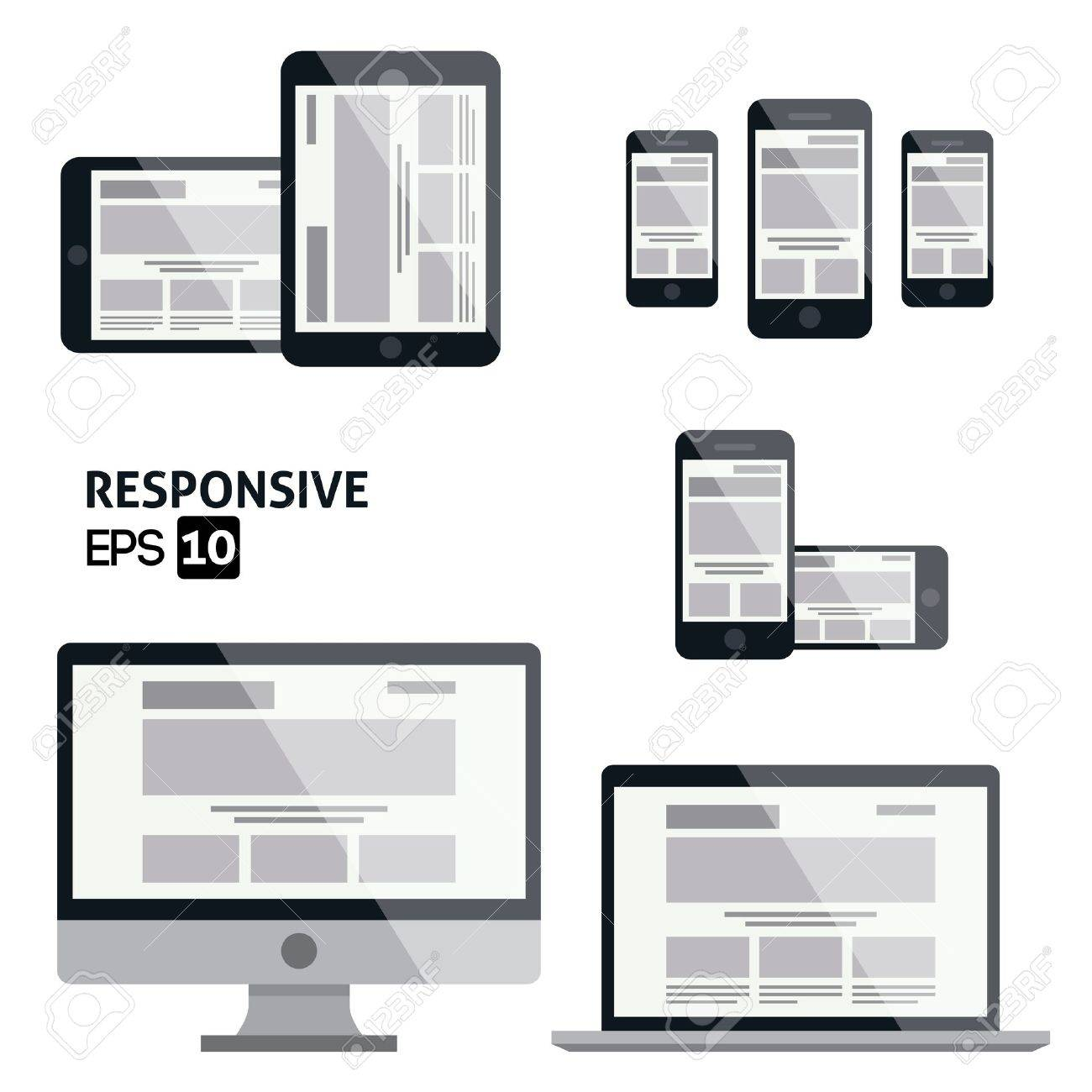 Responsive Web Design    Glossy Icon Stock Vector - 20322102