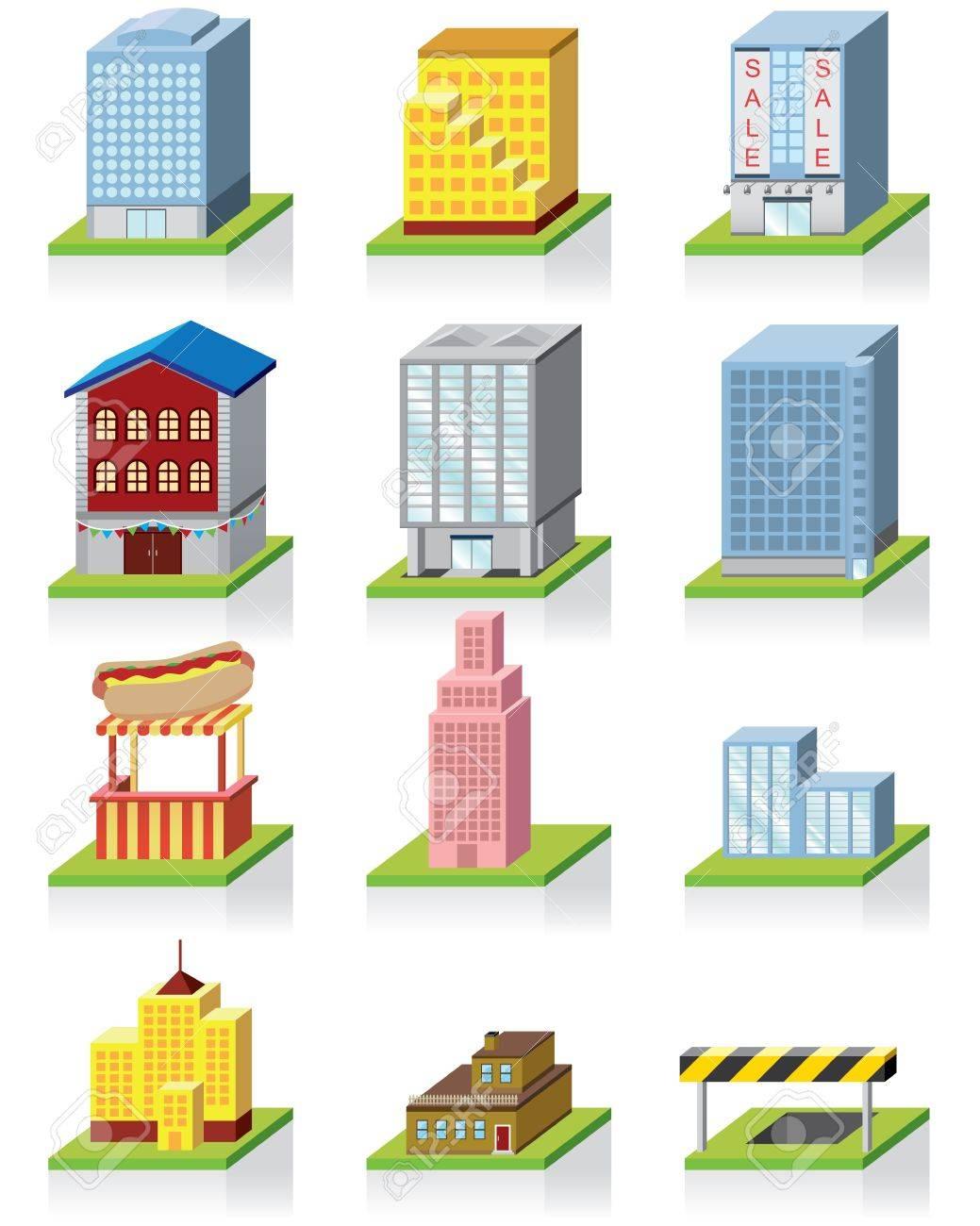 商業建物のアイコン 3 D イラストのイラスト素材ベクタ Image