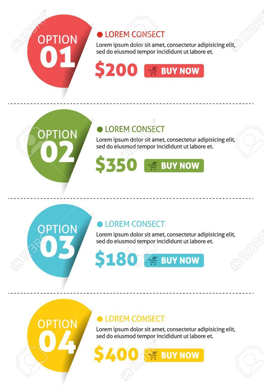 Vector Number Options Banner with Buy Button Stock Vector - 22601624