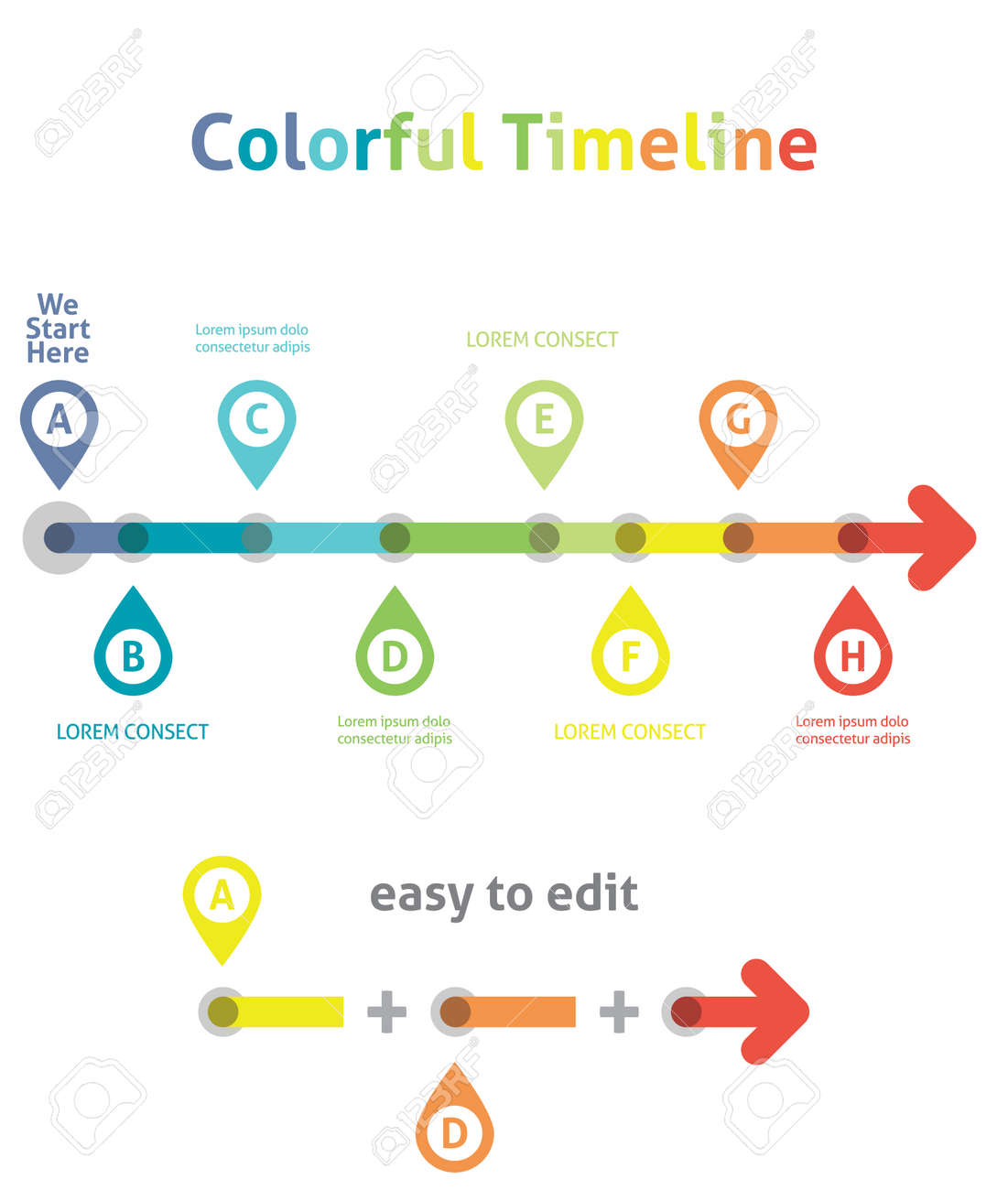 Colorful Timeline Infographic Template Easy To Edit Royalty Free – Career Timeline Template