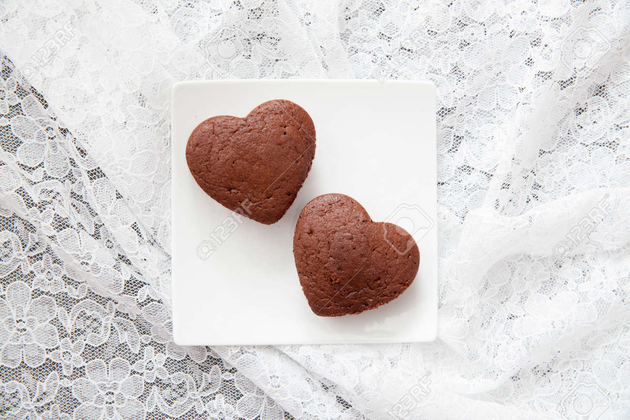 Chocolate Valentine Cake Heart Shape Stock Photo Picture And