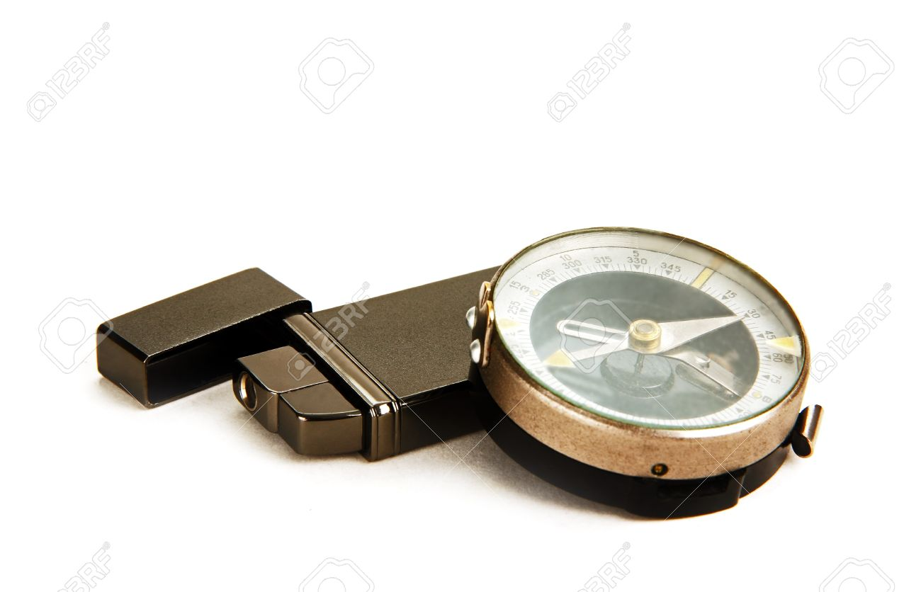 marching compass and metal lighter with folded cover photo on the white background Stock Photo - 20326183