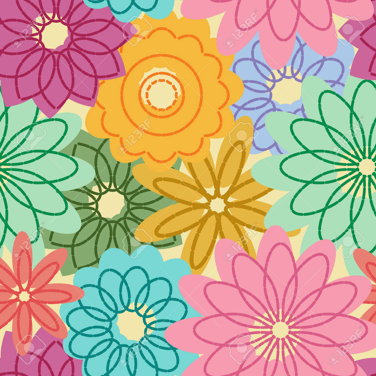 Seamless pattern with abstract flowers Stock Vector - 6224583