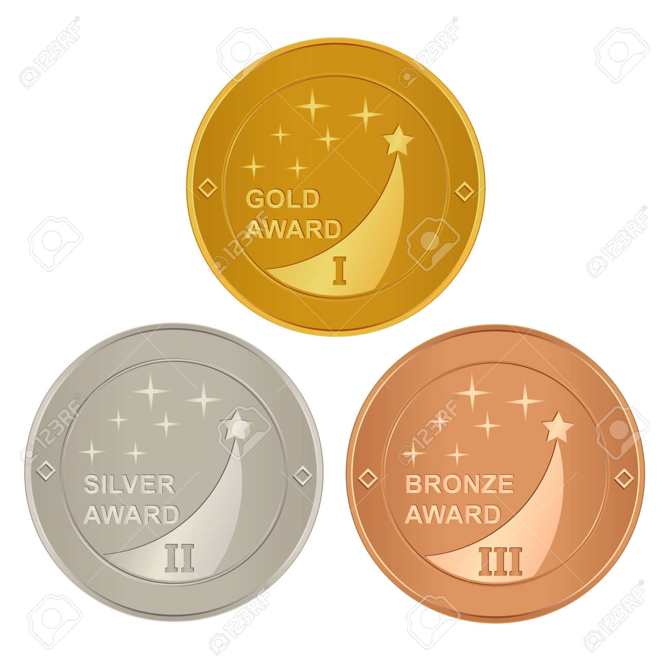 Set of gold, silver and bronze awards Stock Vector - 6240545