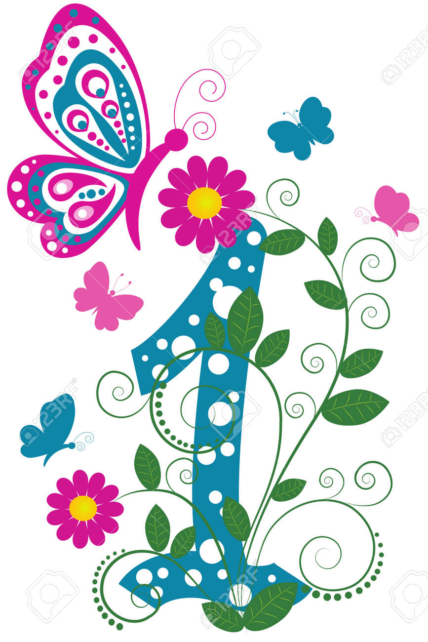 Funny digit 1 with flowers and butterflies Stock Vector - 7973001