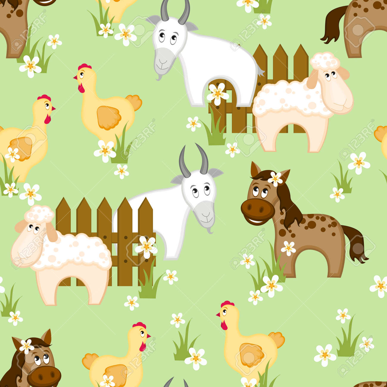 Village style seamless pattern with goats, horses and chickens Stock Vector - 9472995
