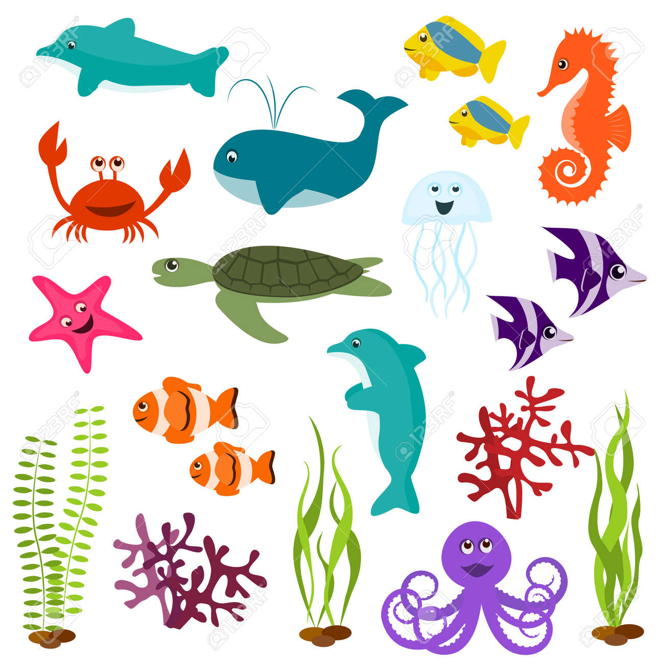Set of sea animals Stock Vector - 9572575