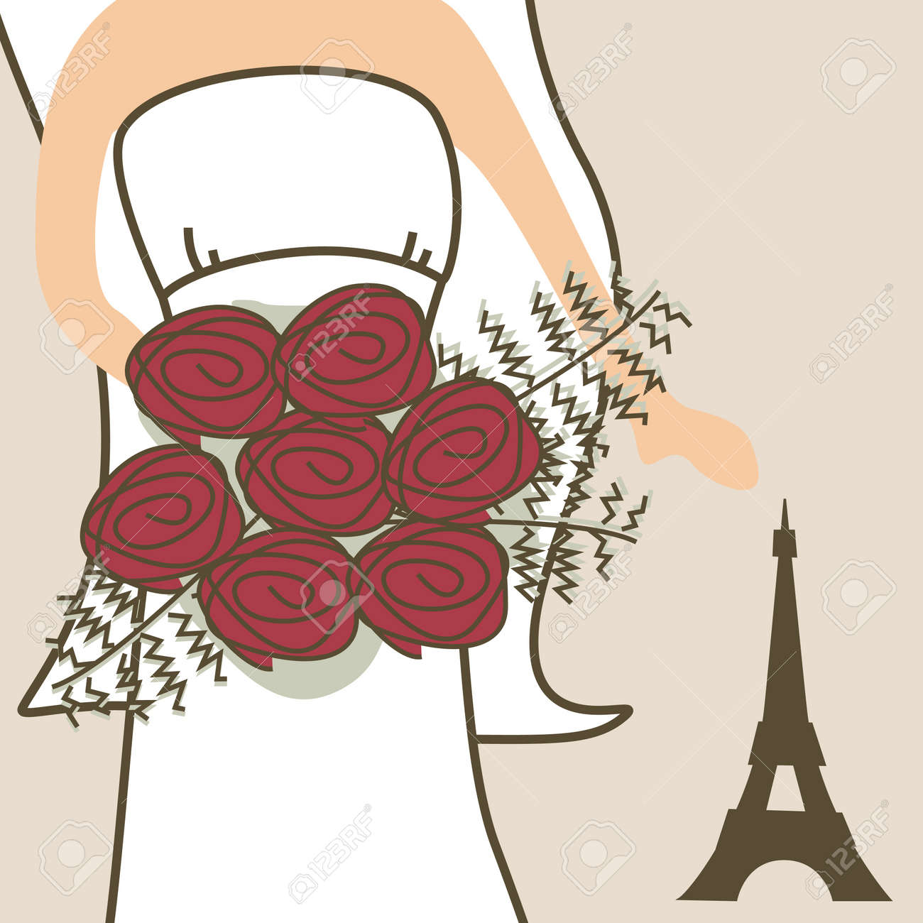 Wedding invitation with bride and Eiffel Tower Stock Vector - 10201108