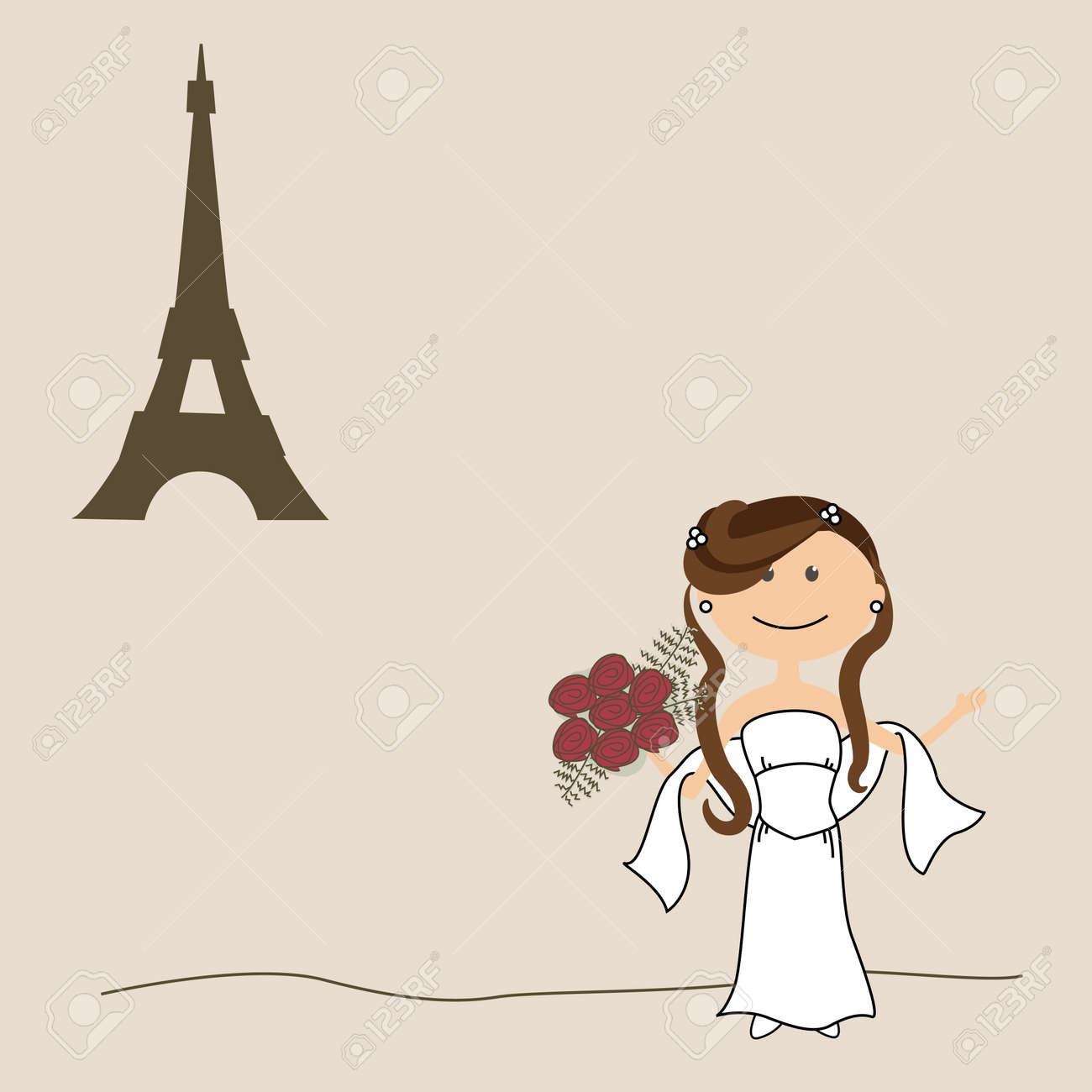 Wedding invitation with bride and Eiffel Tower Stock Vector - 10277201