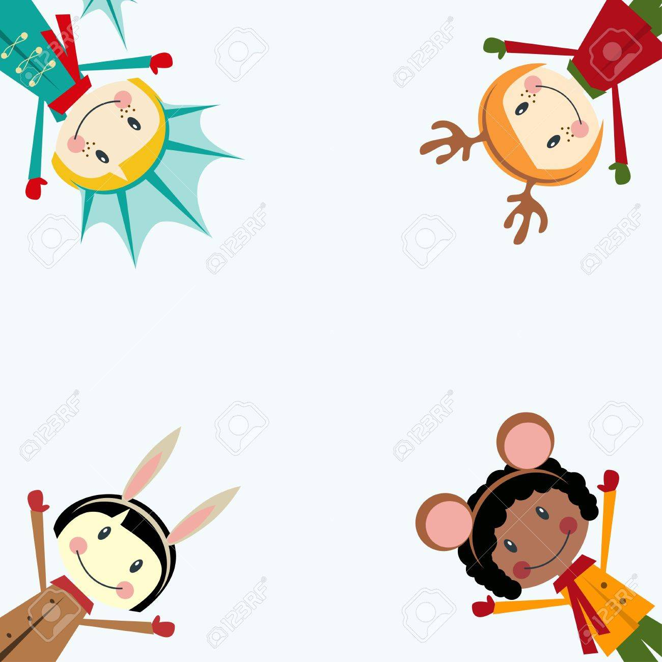 Christmas And New Years Greeting Card With Happy Kids Dressed ...