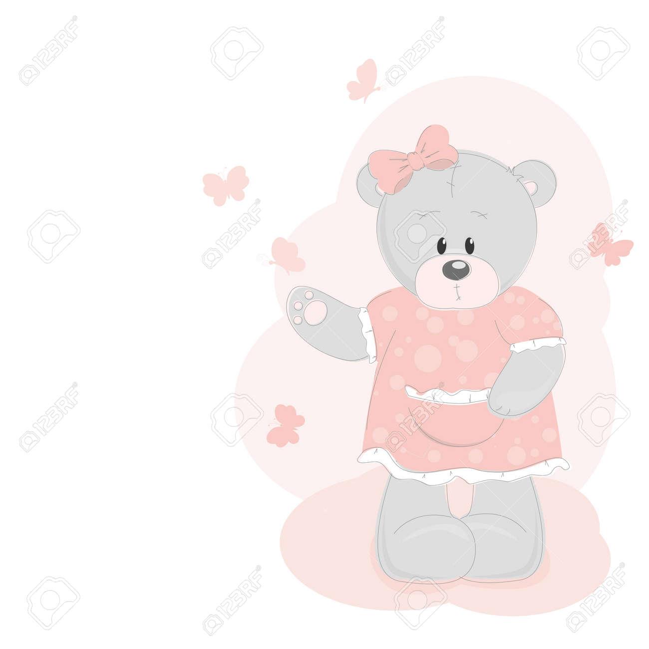 Teddy bear and butterfly Stock Vector - 12933913
