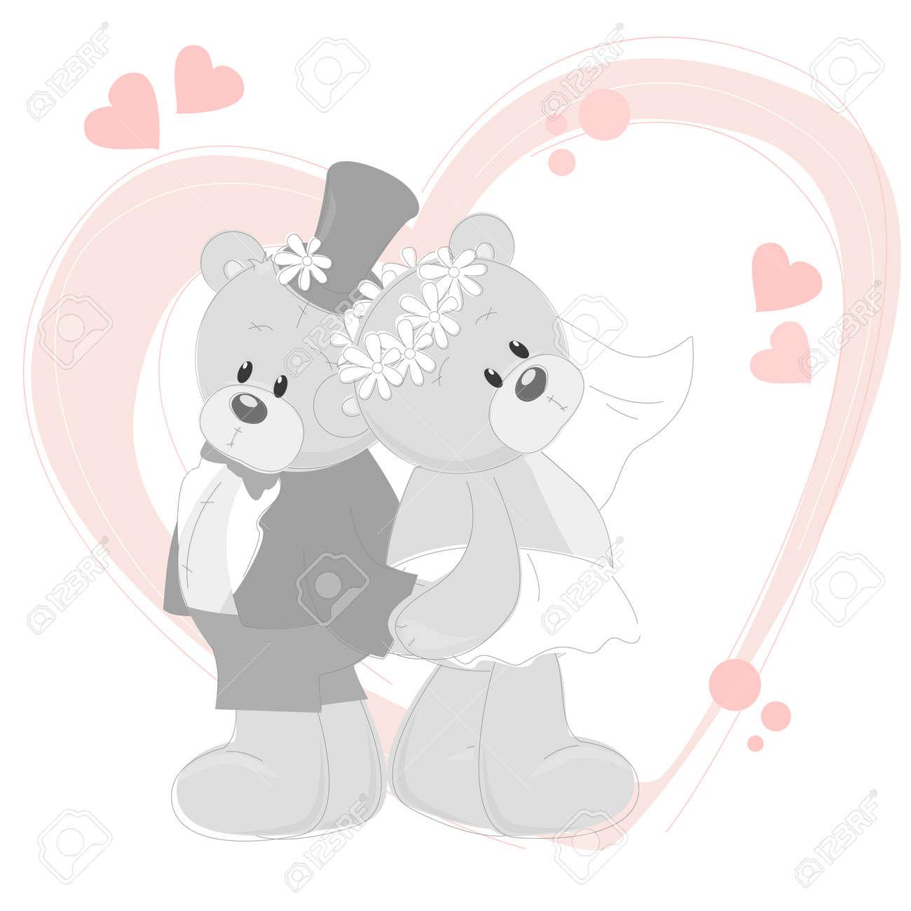 wedding invitation with cute teddy bears royalty free cliparts