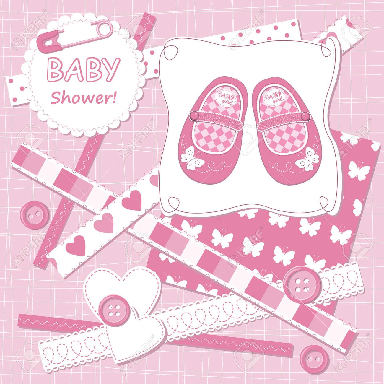How to scrapbook for baby girl - Vector Vector Baby Girl Scrapbook Card