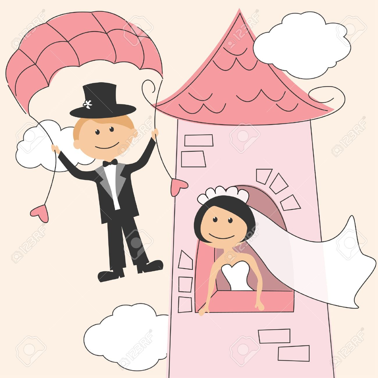 Wedding Invitation With Funny Bride In The Tower And Groom Royalty