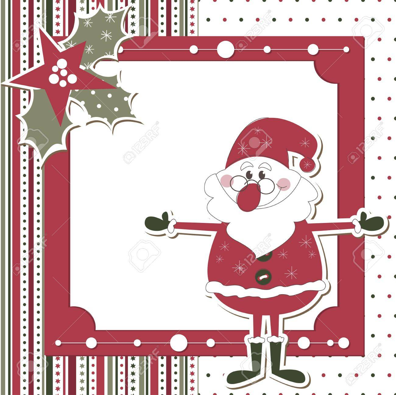 Christmas and New Year scrapbook card with Santa Stock Vector - 13784854