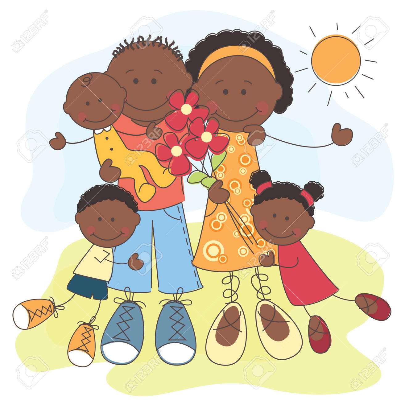 illustration of Happy African American Family Stock Vector - 13962737