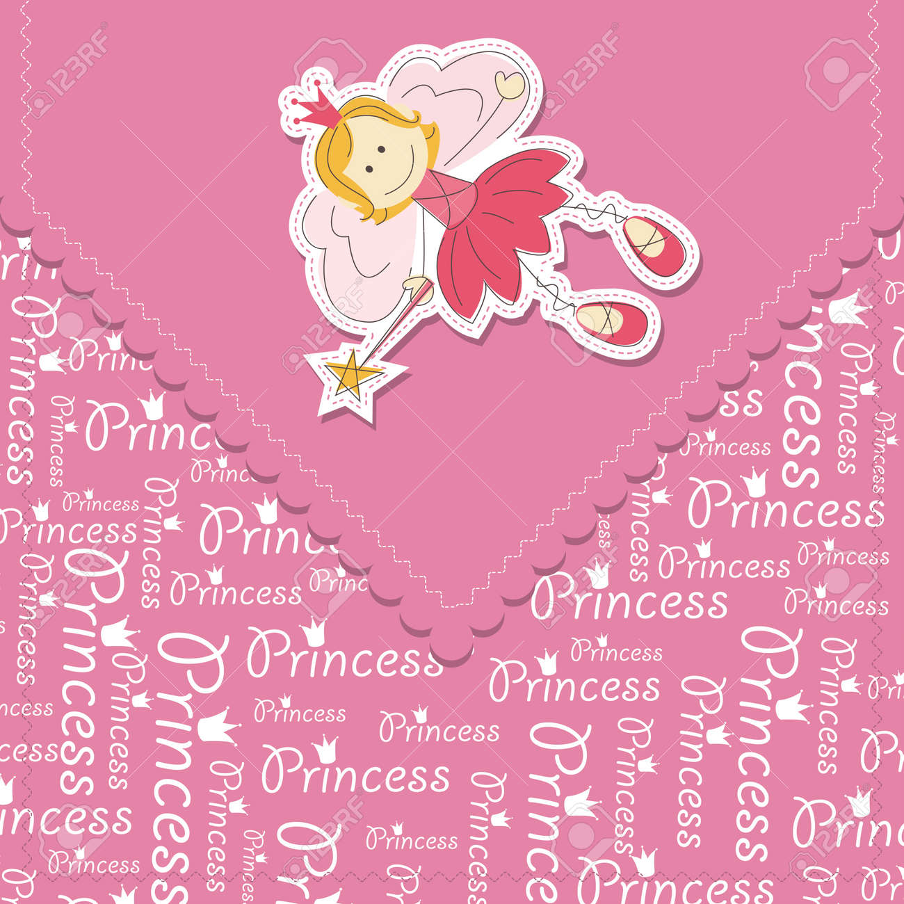Girl greeting card with fairy and magic wand - 14276307