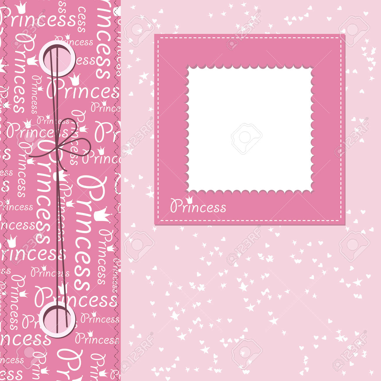How to scrapbook greeting cards - Girl Scrapbook Greeting Card With Place For Text Stock Vector 14276290