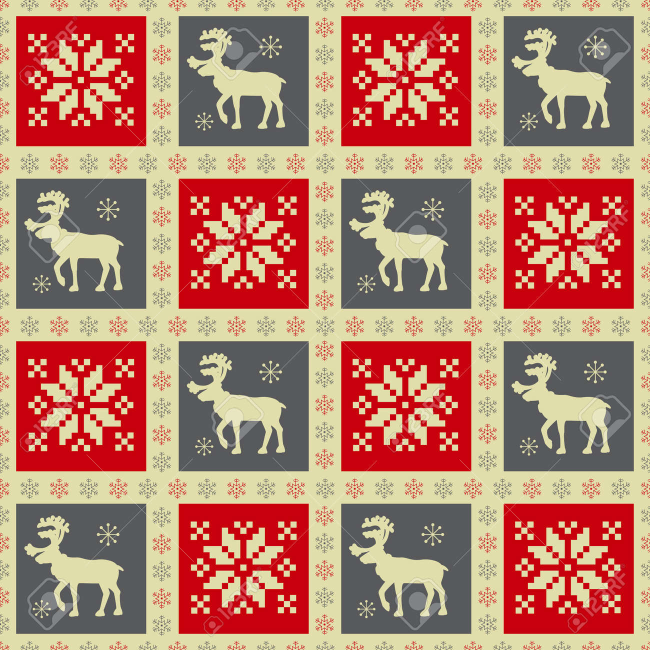 Christmas seamless pattern with reindeer - 15968453