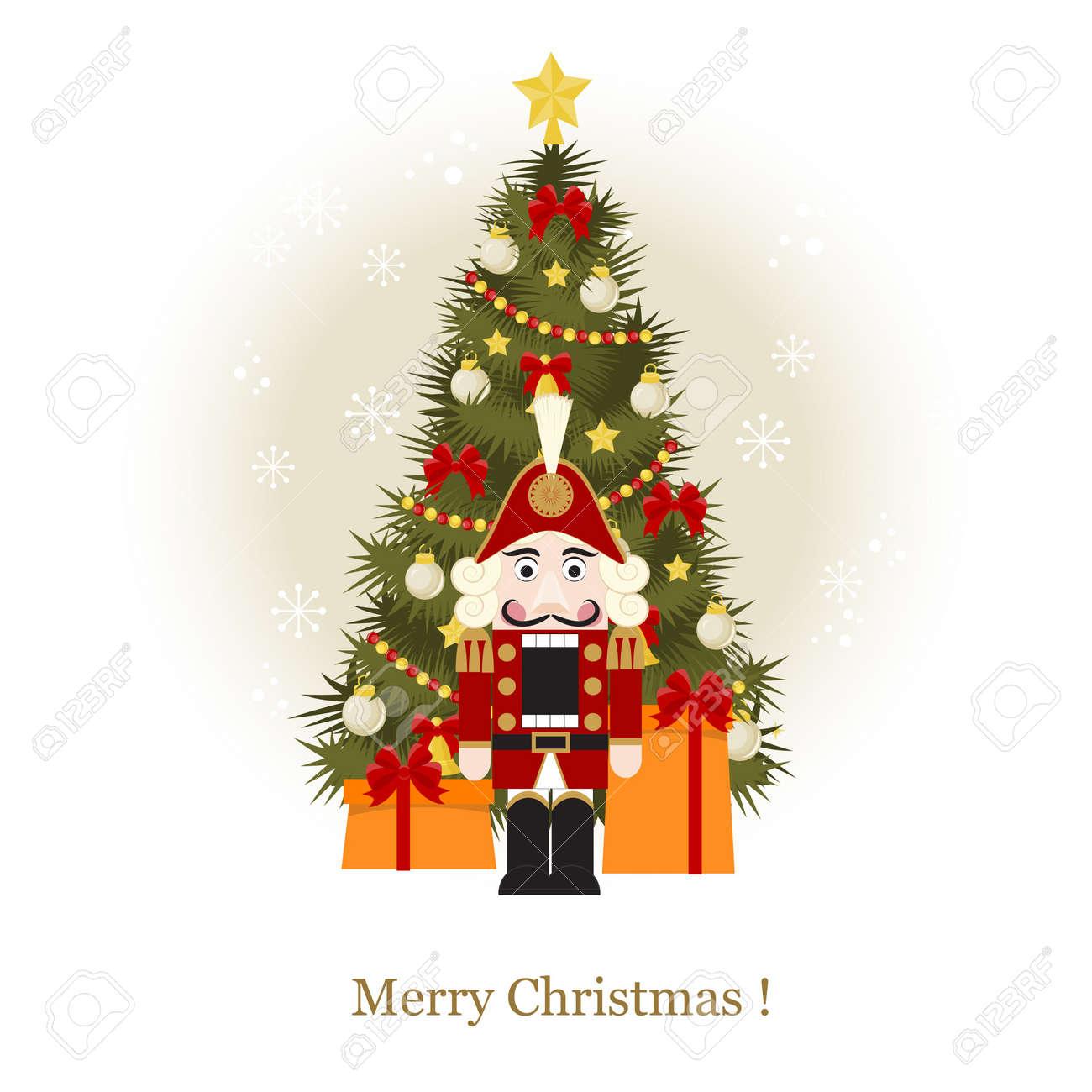 Nutcracker Christmas Tree Clipart.Christmas Greeting Card With Christmas Tree And Nutcracker