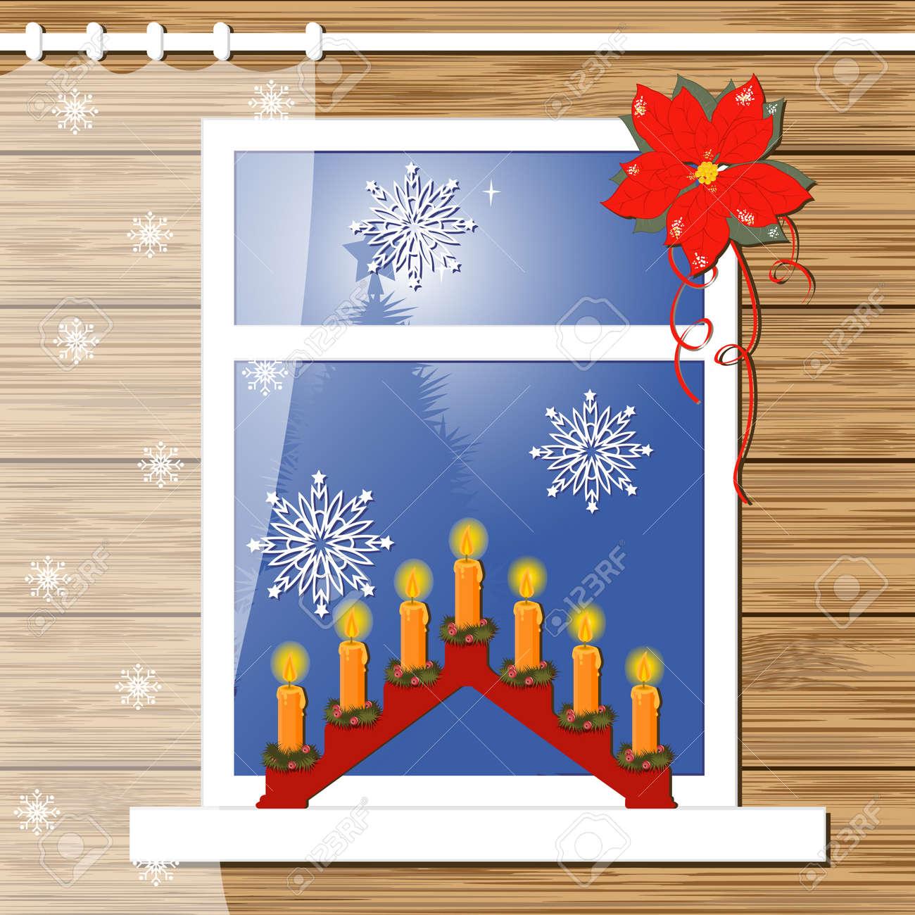 Christmas greeting card with decor windows Stock Vector - 15968510
