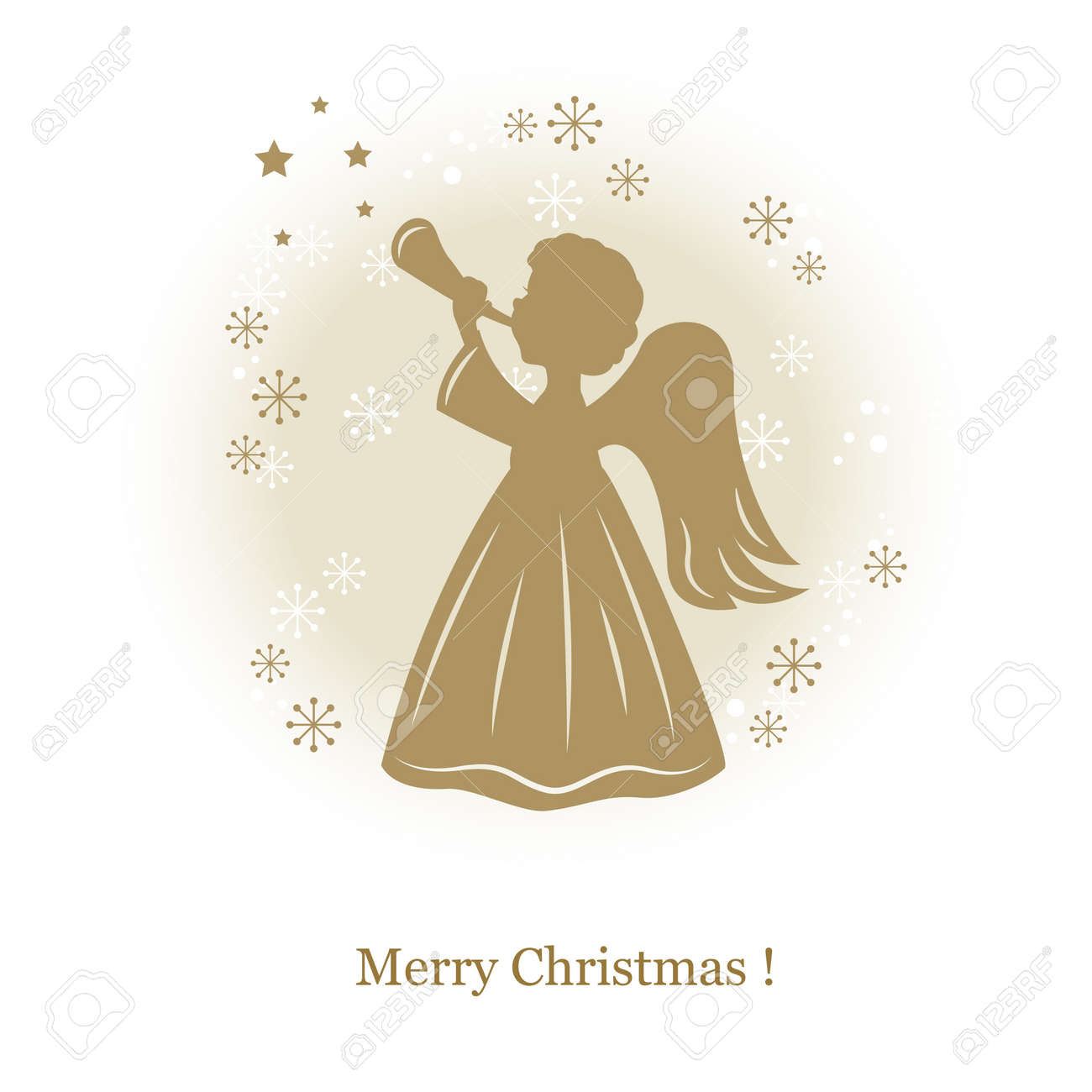 Little Cute Angel With Flute Hand Drawing Illustration Royalty