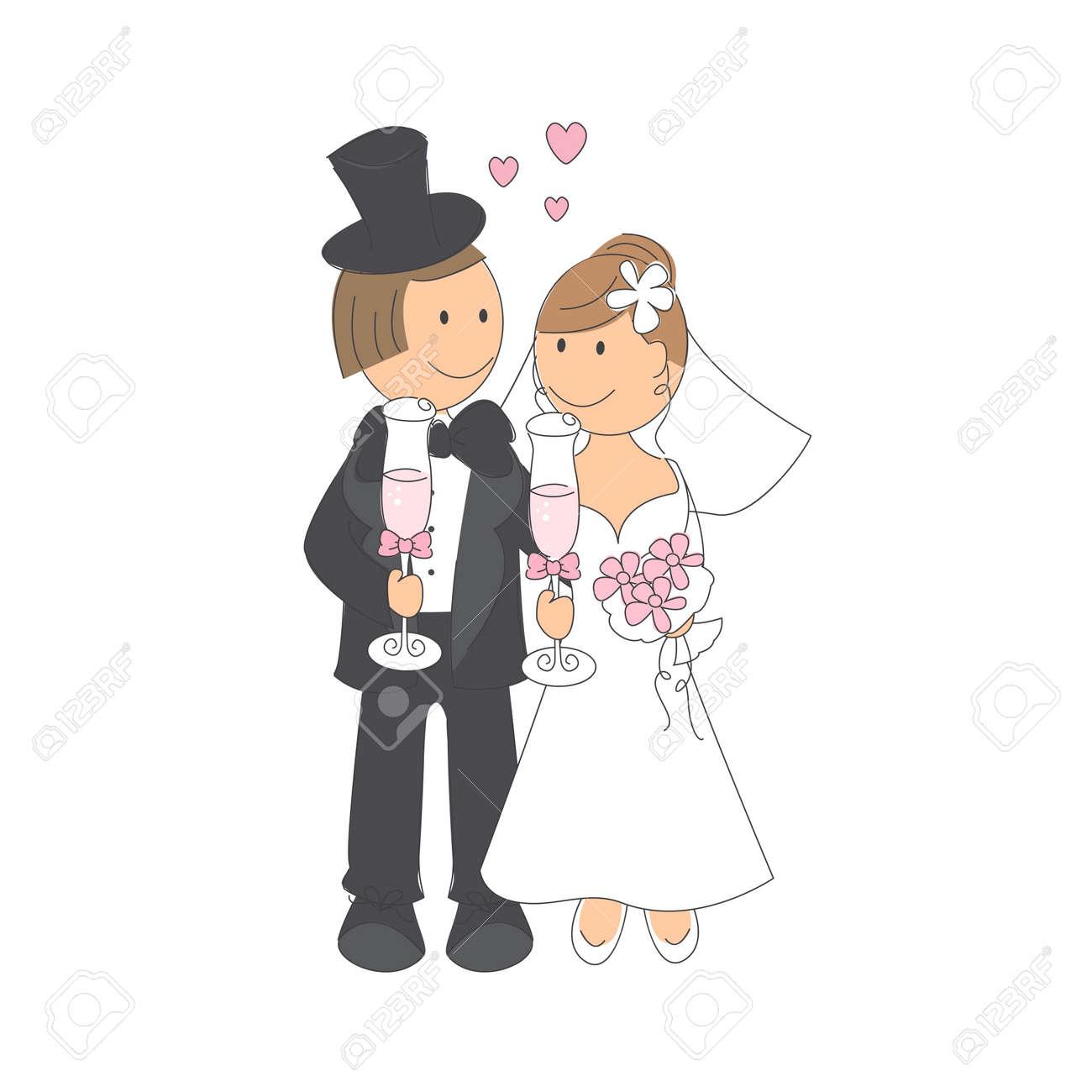 Hochzeitspaar Mit Einem Glas Sekt Hand Zeichnung Illustration Auf