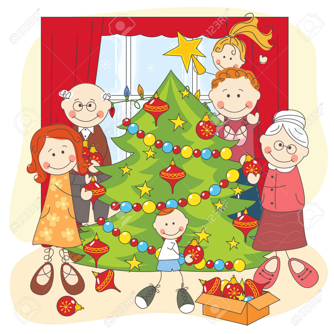 Christmas tree dress up images - The Big Happy Family Dress Up A Christmas Tree Hand Drawing Illustration Stock Vector