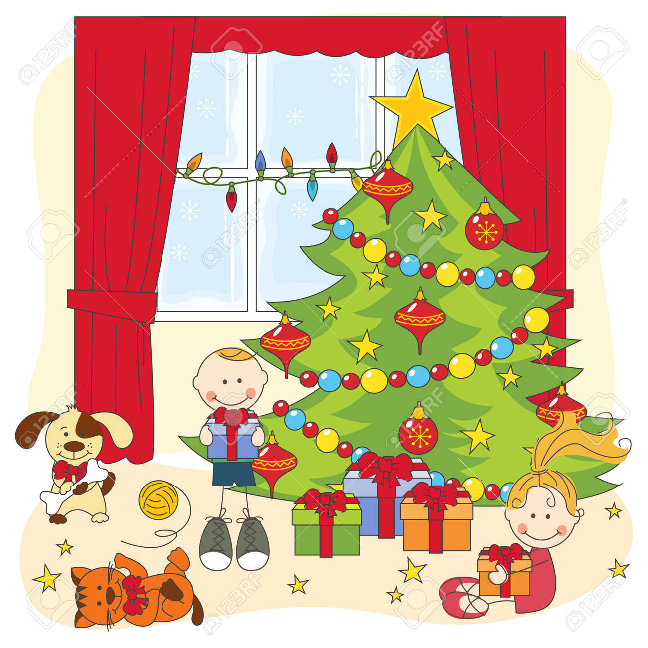 Christmas illustration. Kids opening gifts. Hand drawing. Stock Vector - 16604732