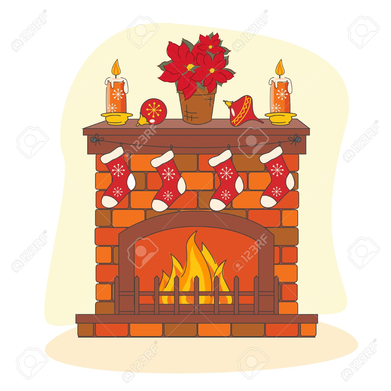 Christmas decoration fireplace. Hand drawing illustration.
