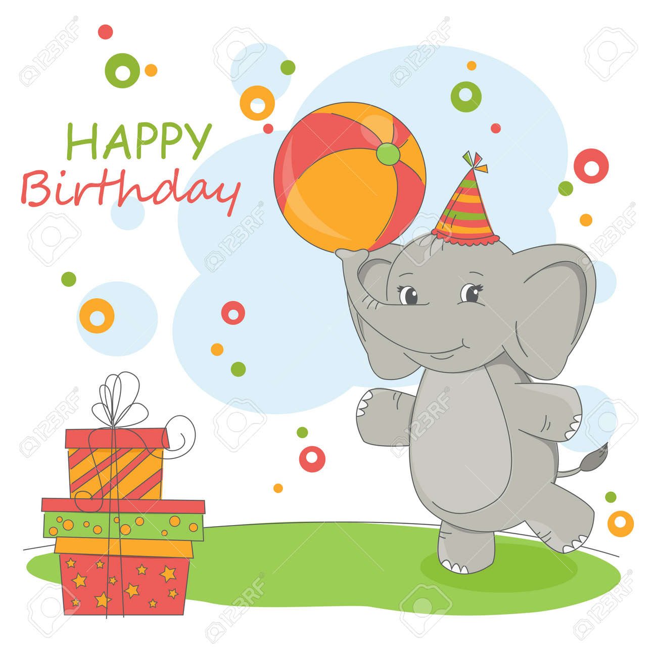Happy Birthday Card Colorful Illustration With Cute Elephant And Gift Stock Vector