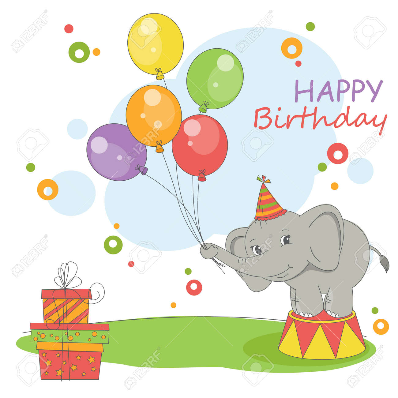 Happy Birthday Card Colorful Illustration With Cute Elephant Balloons And Gift Stock Vector