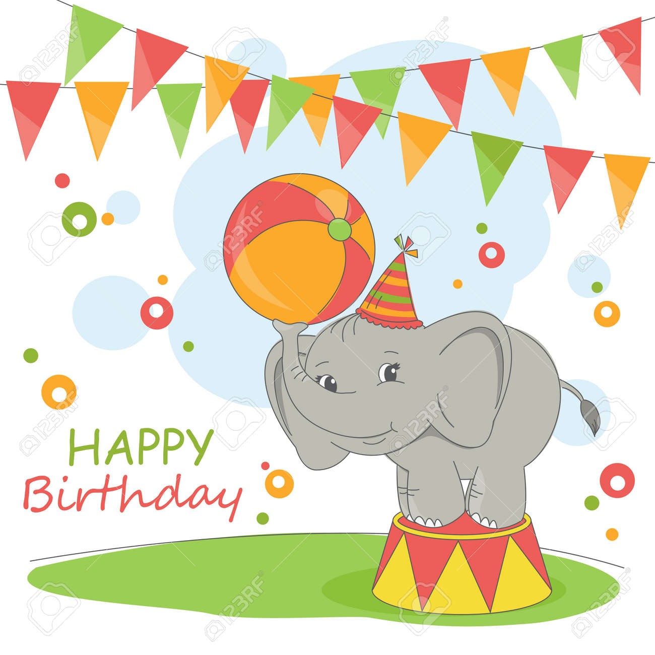 Happy Birthday Card Colorful Illustration With Cute Elephant And Garland Stock Vector
